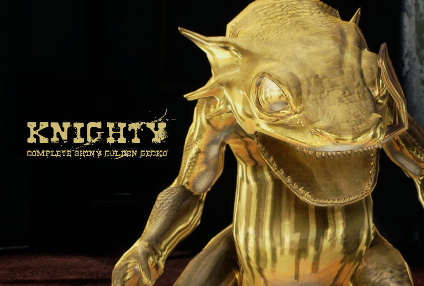 Knighty – Complete Shiny Golden Gecko