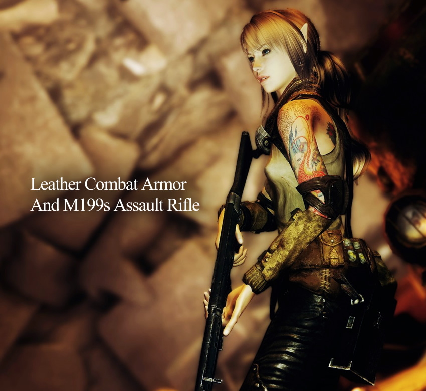 Leather Combat Armor and M199s Assault Rifle